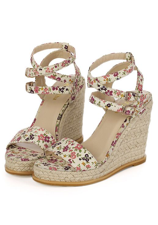 09a71e1797f Sandalias de cuña flores-(Sheinside)   zapatos, sandalias, botines ...