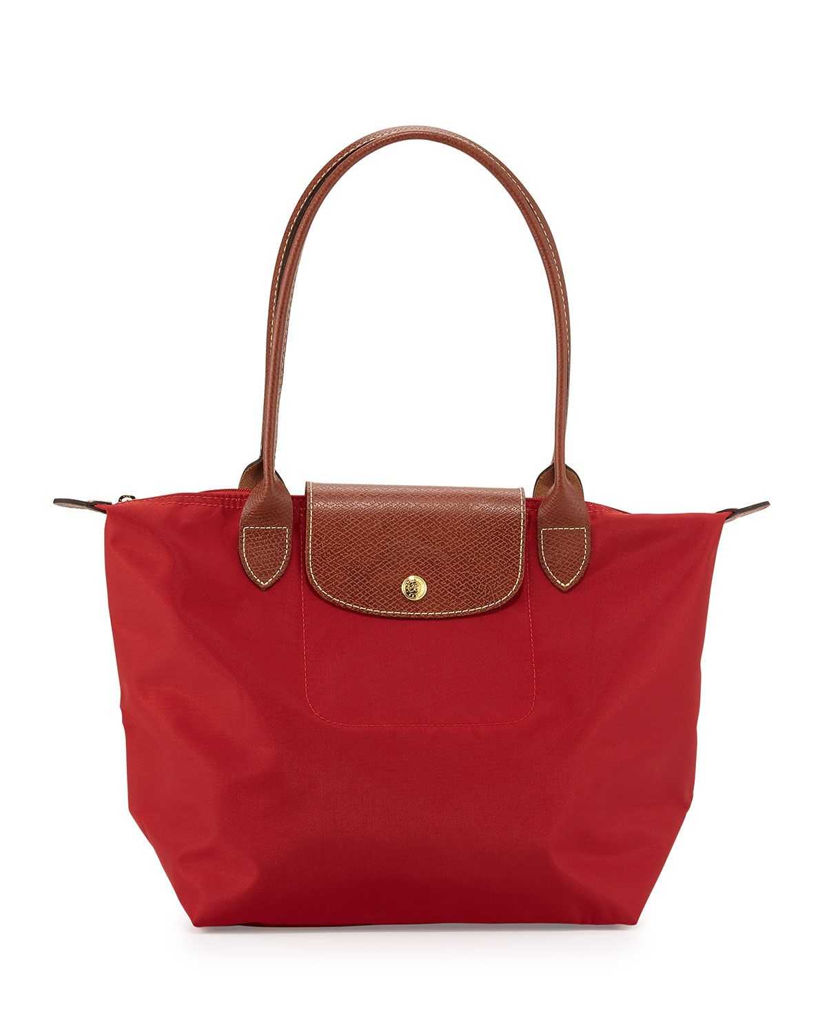 Le Pliage Medium Monogram Shoulder Tote Bag, Deep Red - Longchamp ...