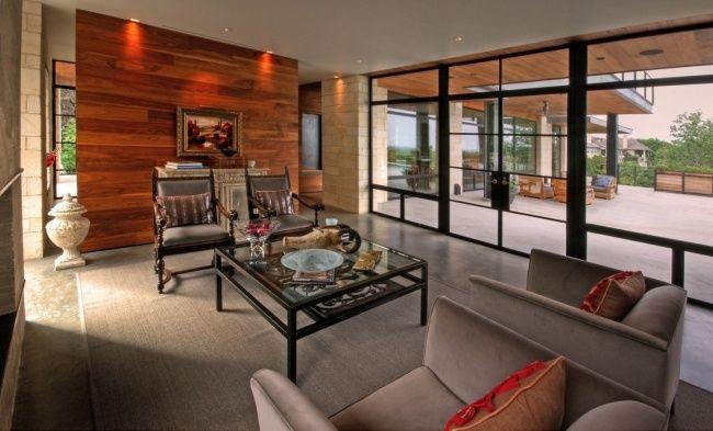 Offenes Wohnen Stilvolles Haus Design Wandholz Verkleidung Verglaste Wand  Sitzgelegenheiten