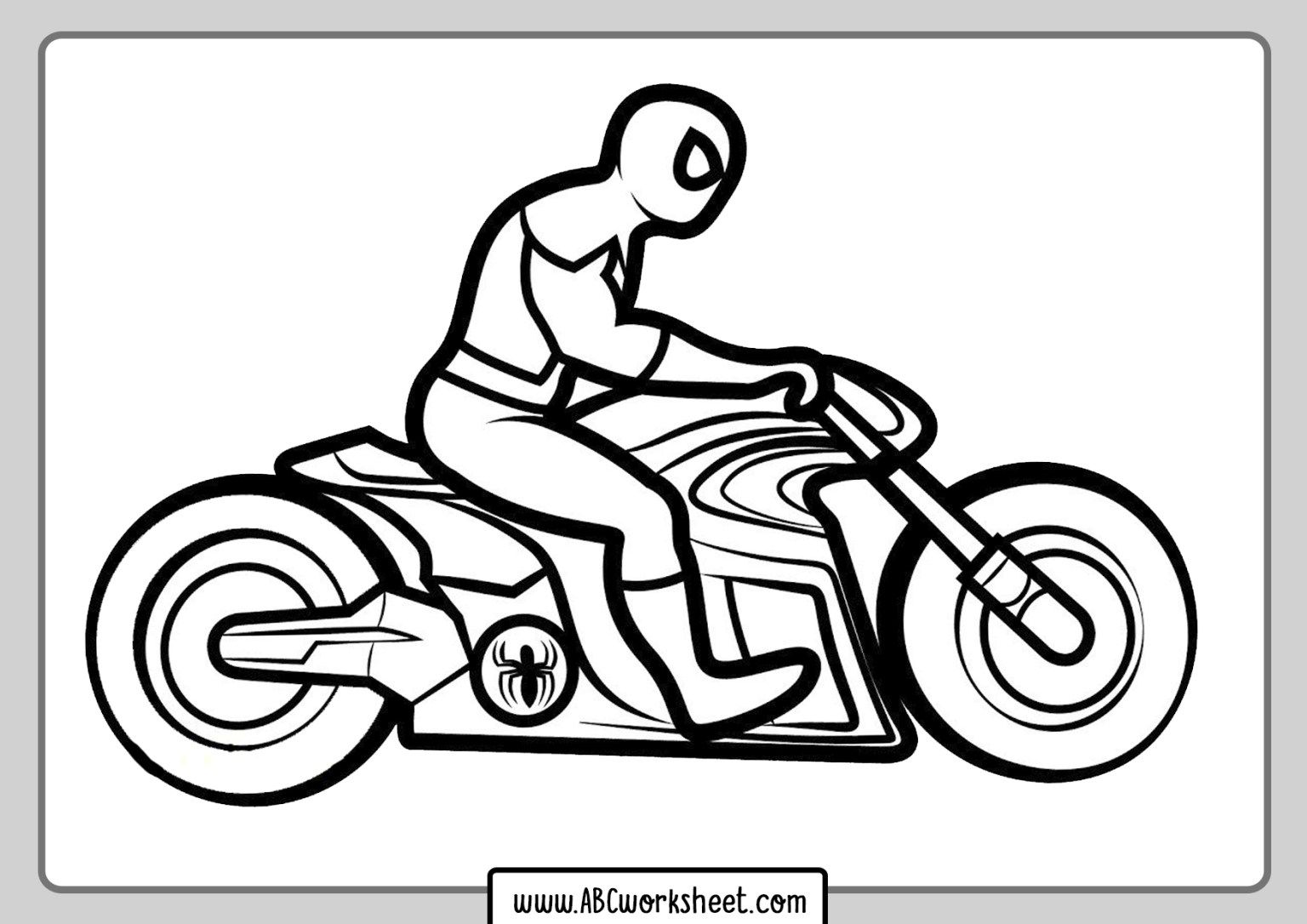 Free Printable Motorcycle Coloring Pages For Kids In 2020 Spiderman Coloring Coloring Pages Bunny Coloring Pages