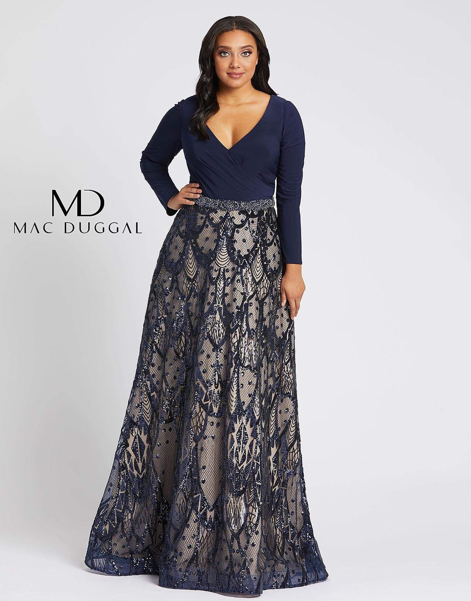 67241f mac duggal plus size prom dress in 2020 long
