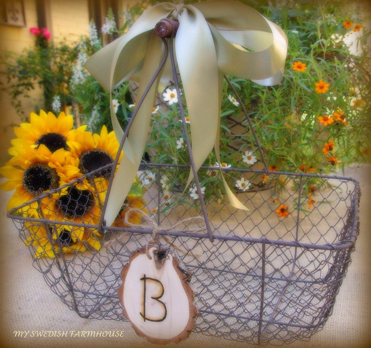 Wedding Card Basket Box Chicken Wire Rustic Barn Decor Personalized Engraved Heart Your