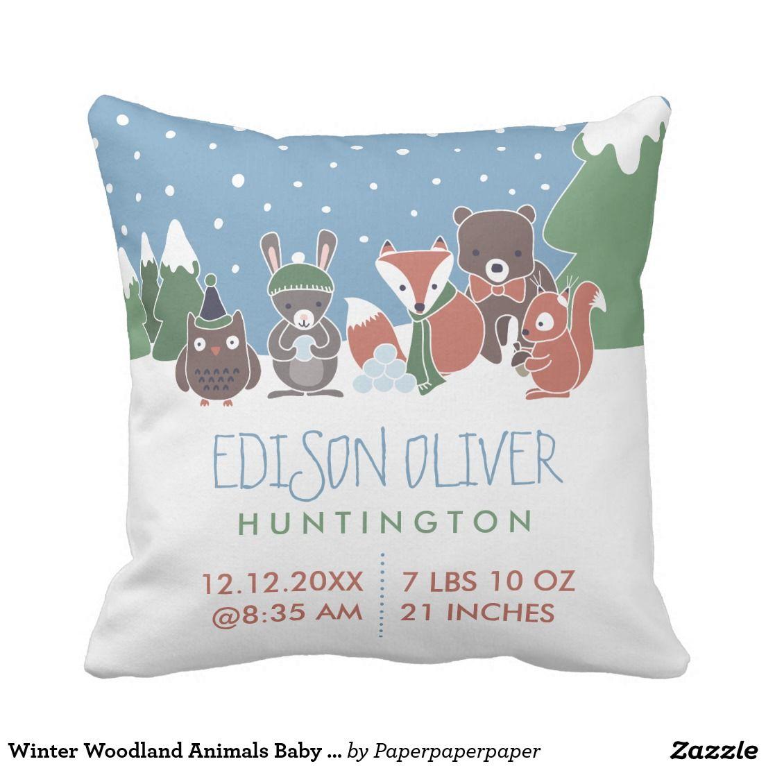 Winter Woodland Animals Baby Birth Stats Throw Pillow