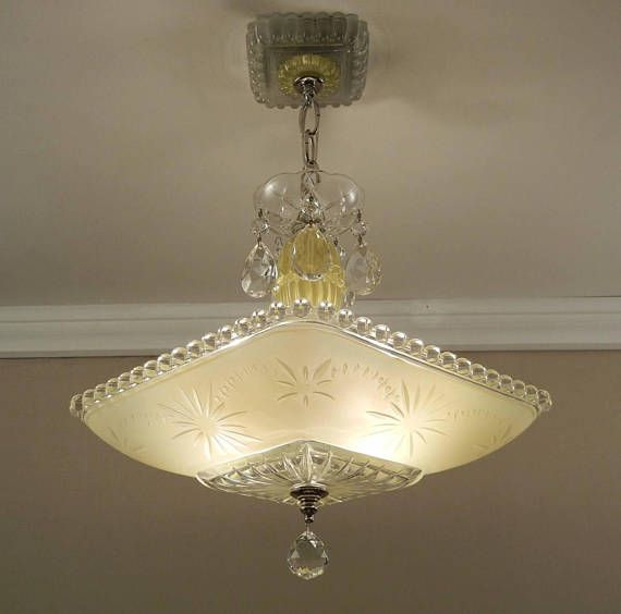 Fabulous 1940s Art Deco Ceiling Light Fixture Chandelier The Thick Square Glass Shade Has A Yellow In Vintage Chandelier Vintage Ceiling Lights Ceiling Lights