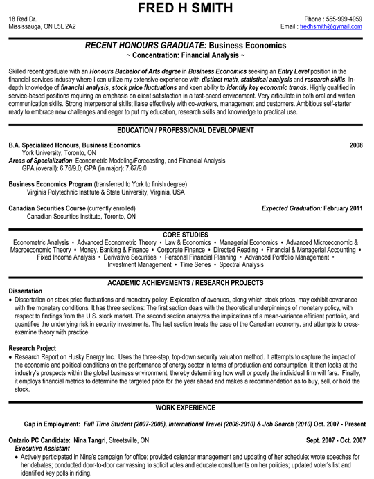 Financial Analyst, Business, Economics Resume Sample  Economics Major Resume