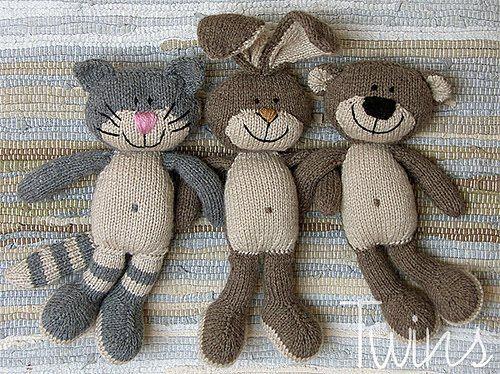 Twins Knitting Pattern Minishop Happy Pets Flat Trio In English