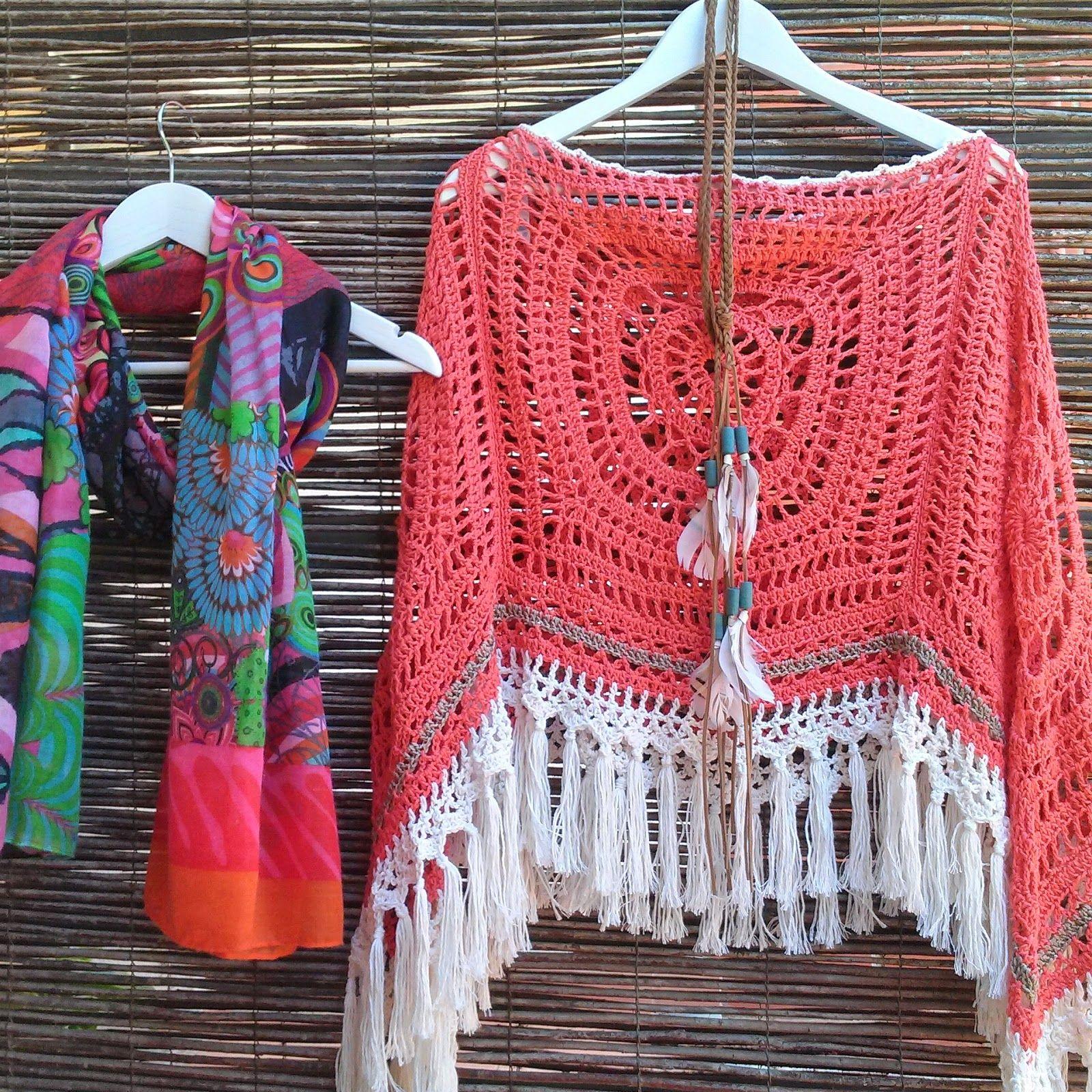 Bo-M: Poncho Cor de Coral e Marfim   Crochet project ideas ...