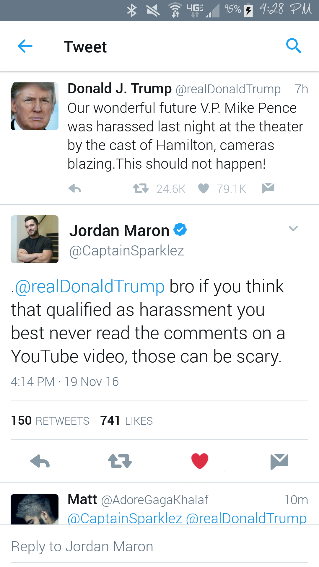Captainsparklez Jordan Maron Talks Down To Trump Jordan Maron Youtube Cast Of Hamilton