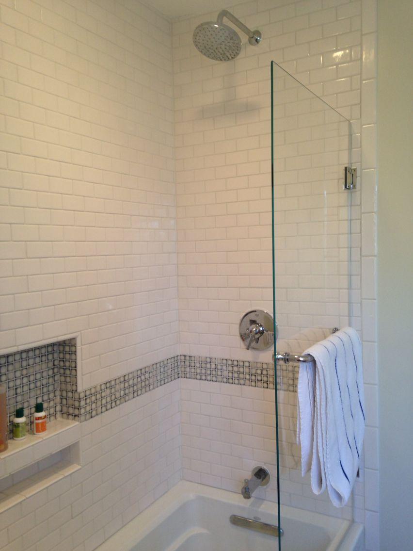 Small Subway Tile With Detail Shelf Inlay Half Glass Door Rain