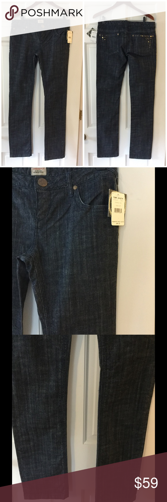 """Free People classic black jeans These fabulous Free People jeans are 98% cotton and 2% spandex. Machine wash and dry. Waist 16"""" across. Front rise 8.5"""". Inseam 34"""", Brand new with tag. Retail price $98. Free People Jeans Straight Leg"""
