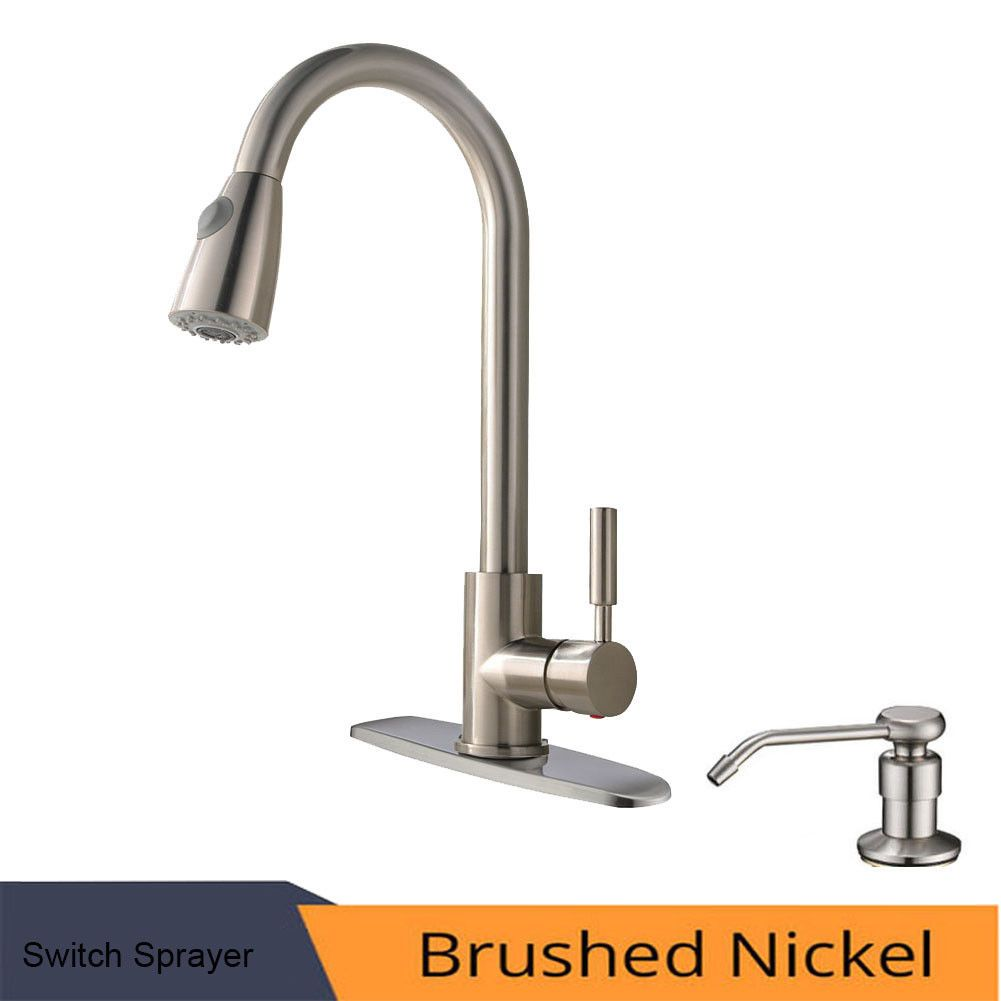 Faucets 42024 Single Handle Brushed Nickel Pull Out Kitchen