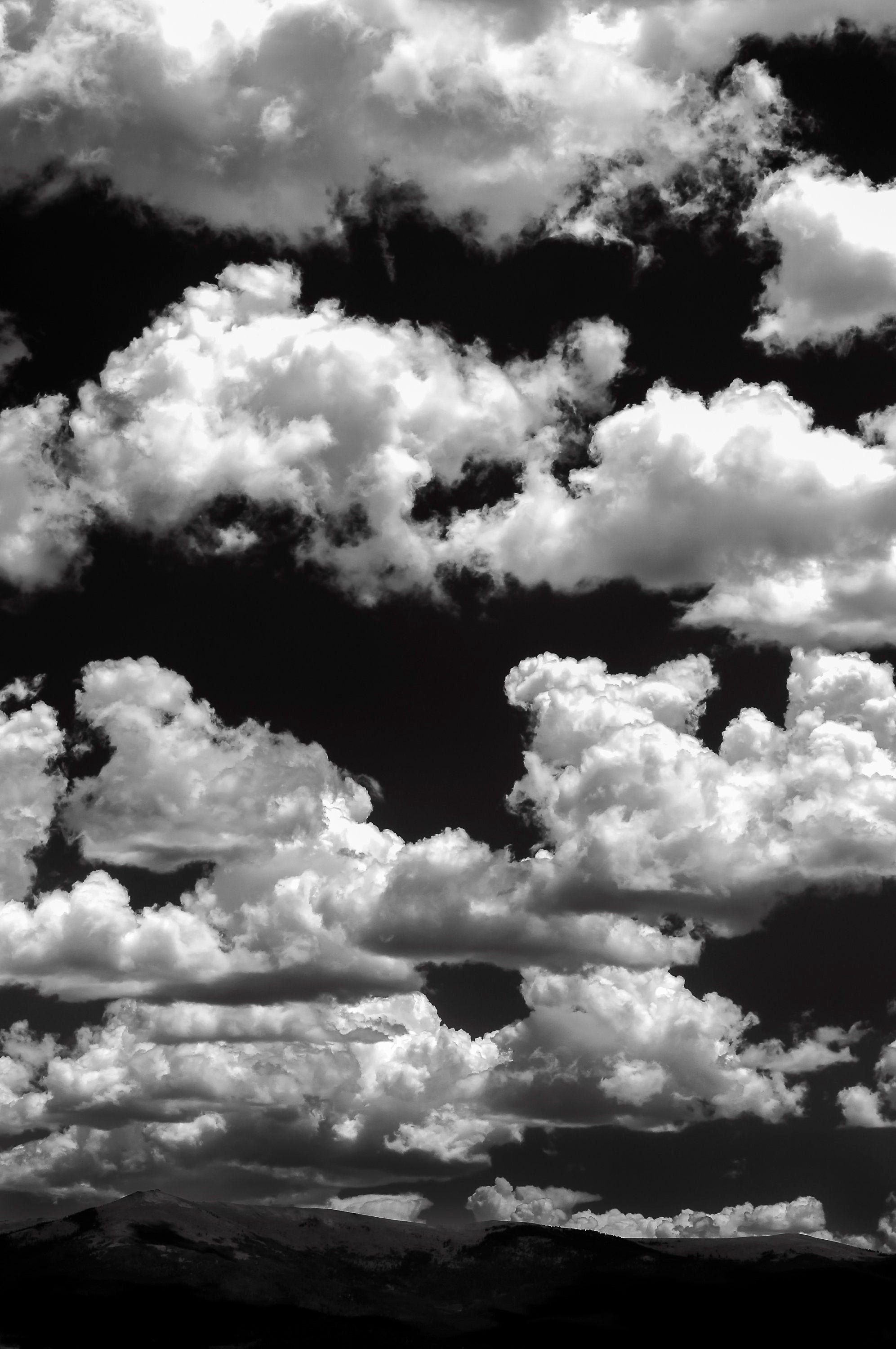 Clouds, summer, sky, mountains, Colorado art, Black White photo, puffy clouds, summer, weather, modern rustic wall decor, cabin decor