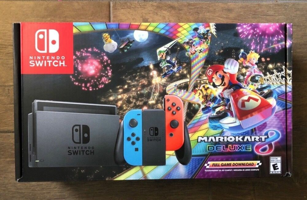 New Nintendo Switch W Mario Kart 8 Deluxe Console Bundle Neon Blue Red 32gb Nintendoswitch Nintendo Switch Mario Kart 8 Nintendo Switch Mario Kart