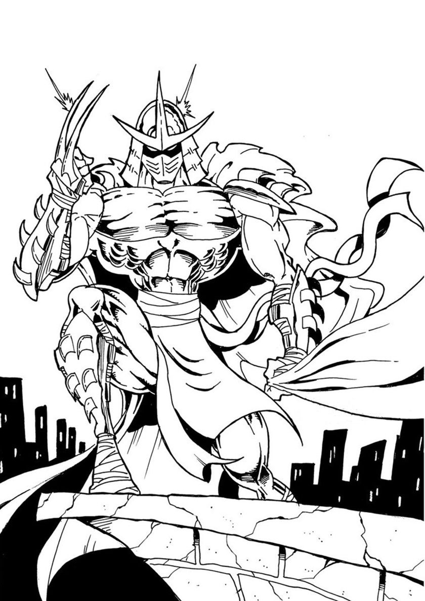 Shredder on a Roof - high-quality free coloring page from the