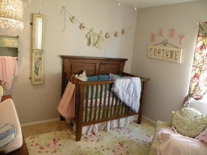 Light Grey Wall Paint Decoration Dark Brown Crib Mirror Carpet