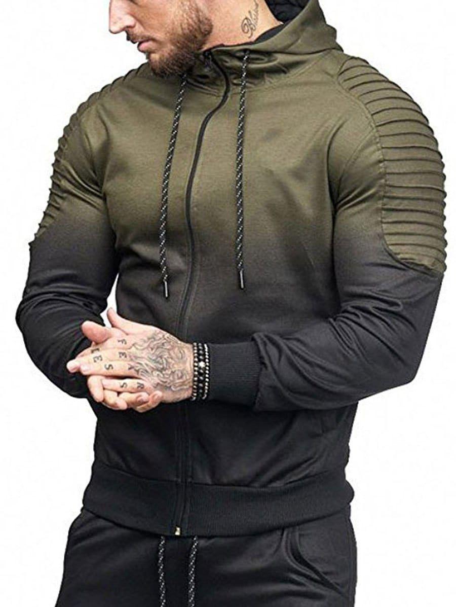 98eaeae609 Full Zipper Gradient Print Shoulder Pleated Sports Hoodie in 2019 ...