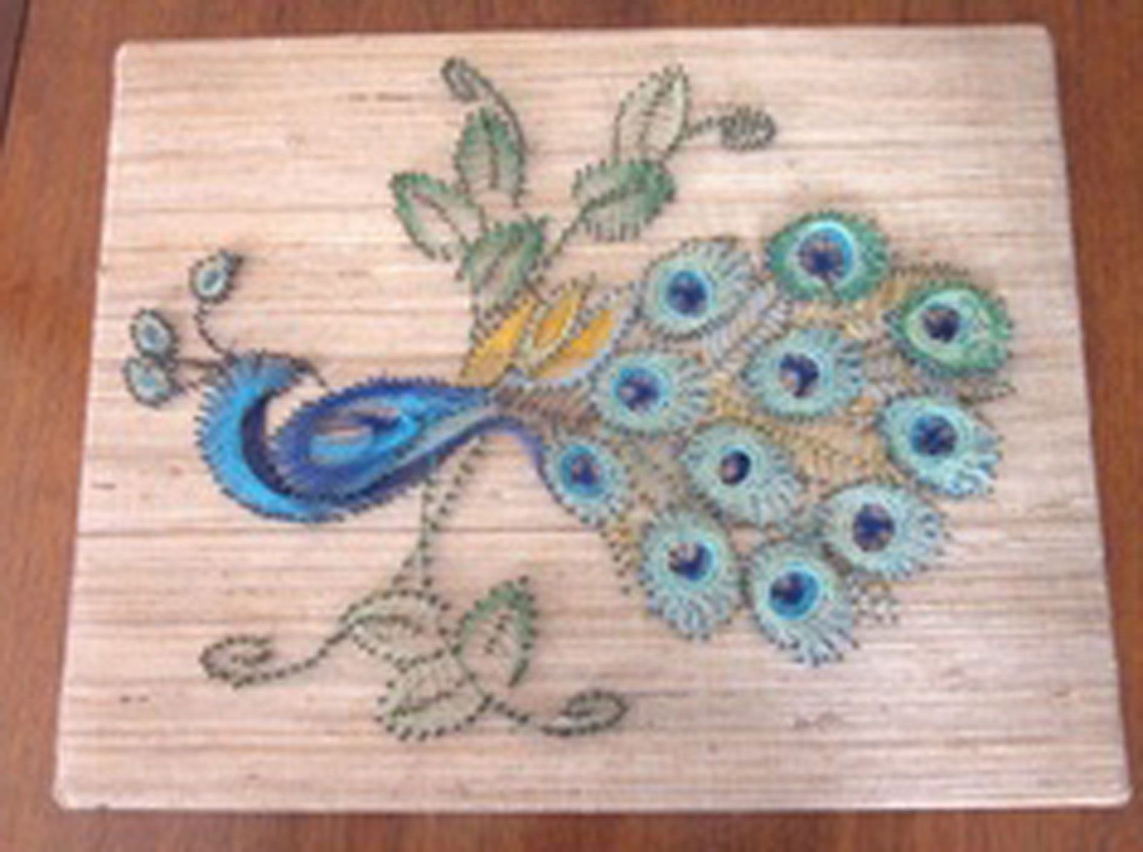 Large Vintage 1980 PEACOCK String Art Kit McCulla Crafts 16