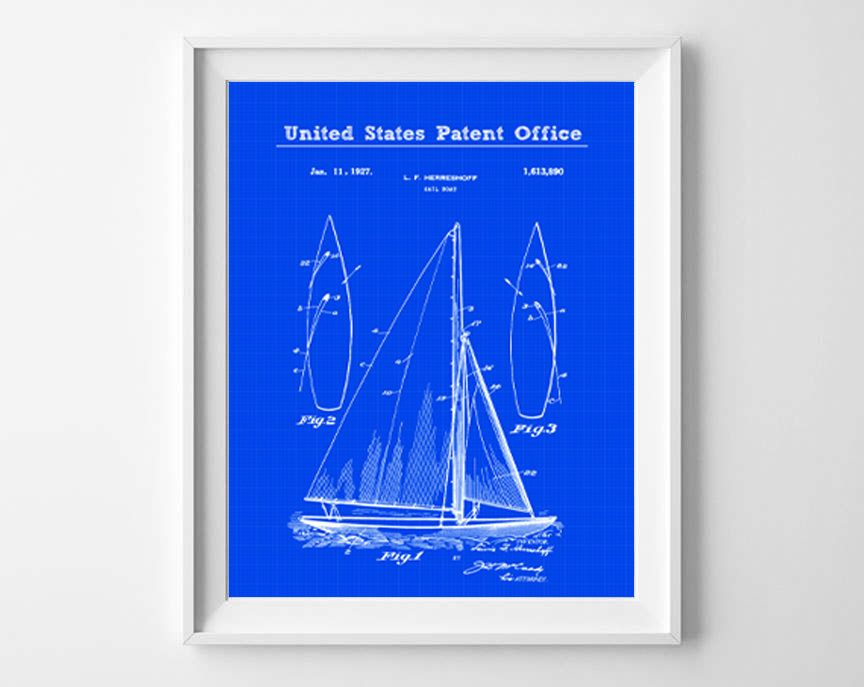 Sail boat patent print nautical blueprint nautical wall art sail boat patent print nautical blueprint nautical wall art nautical decor patent malvernweather Gallery