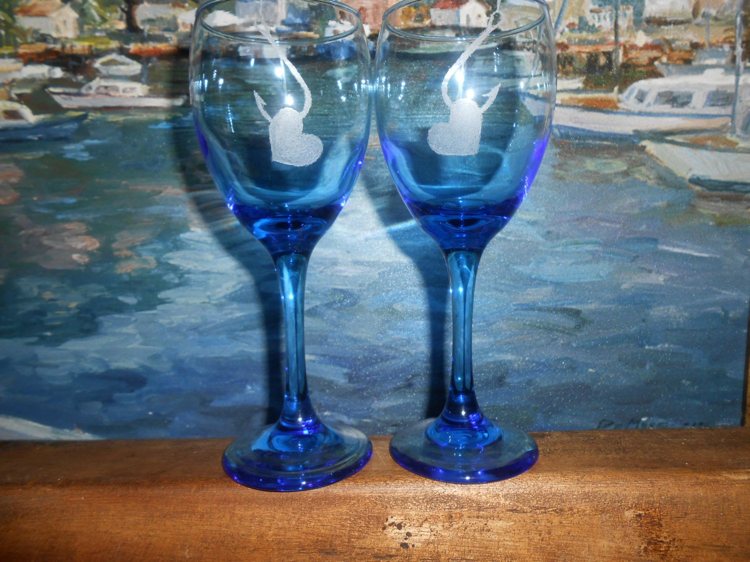 NEW ITEM! - Hooked Hearts - Valentine's Gift Idea - Etched Wine Goblets by TreasuresShop on Etsy