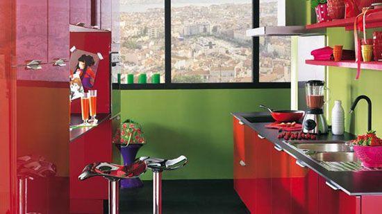 Cuisine Rouge Et Verte Idee Deco Cuisine Decoration Cuisine