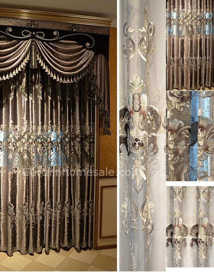 Luxury velvet fabric bedroom curtain of victorian curtain - Long or short curtains in living room ...