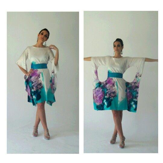 Bubble Dress En Estampada Carme Vestido Seda De Alta Costura Trias n08OkwXP