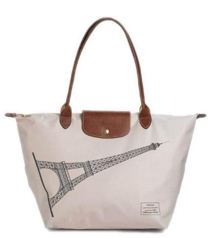 Longchamp Le Pliage Nylon Eiffel Tower Tote Bag White