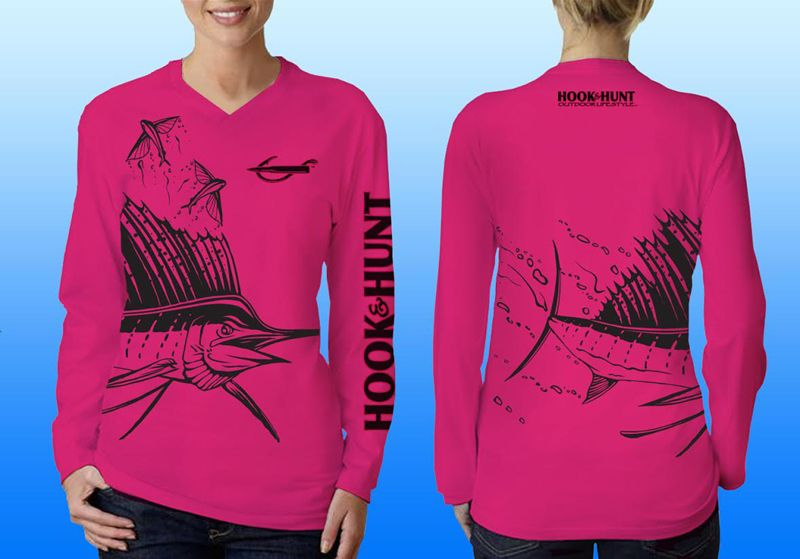 Our Ladies hot pink sailfish wrap, UPF 40, moisture wicking performance shirt. Logo's on front, back and sleeve. Made in the USA. Please like & share us on facebook. http://facebook.com/hookandhuntoutdoor