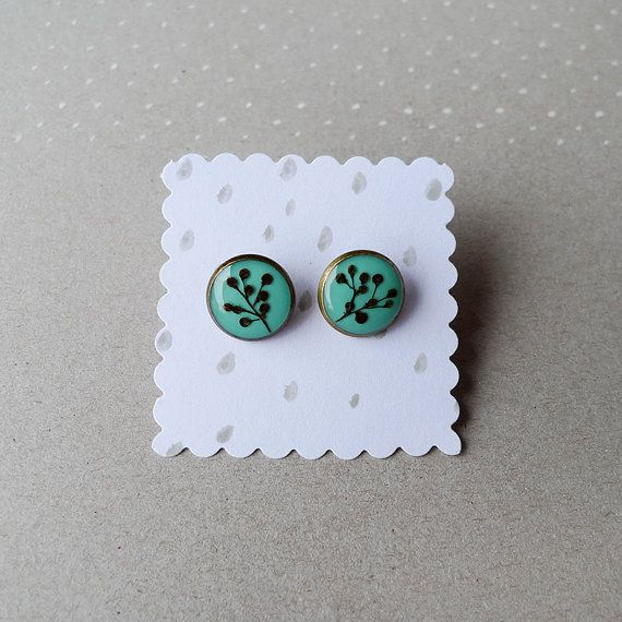Elder berry SMALL stud earrings in teal - 14mm, bronze plated - handmade botanical flower jewelry $28.00