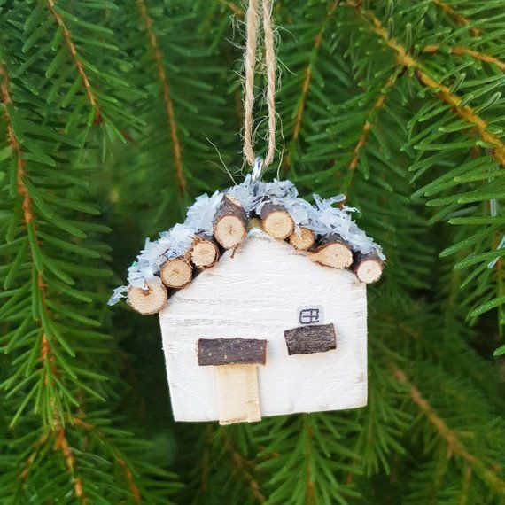 Tiny Wooden Log Cabin Christmas Tree Ornament Christmas Ornaments