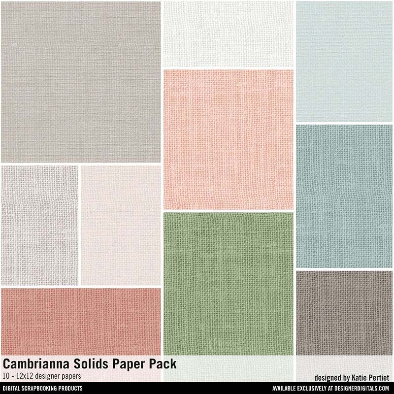 Cambrianna Solids Paper Pack linen textured solid colored cardstocks in pastels #designerdigitals