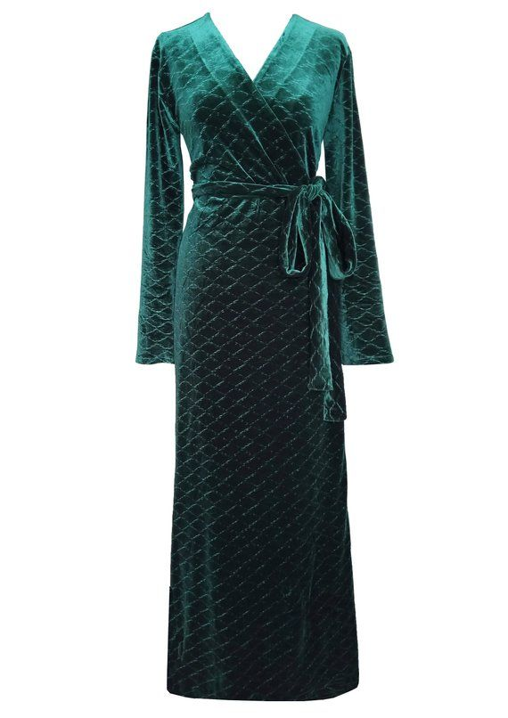 97db9382693 SALE - Green Velvet Maxi Wrap Dress