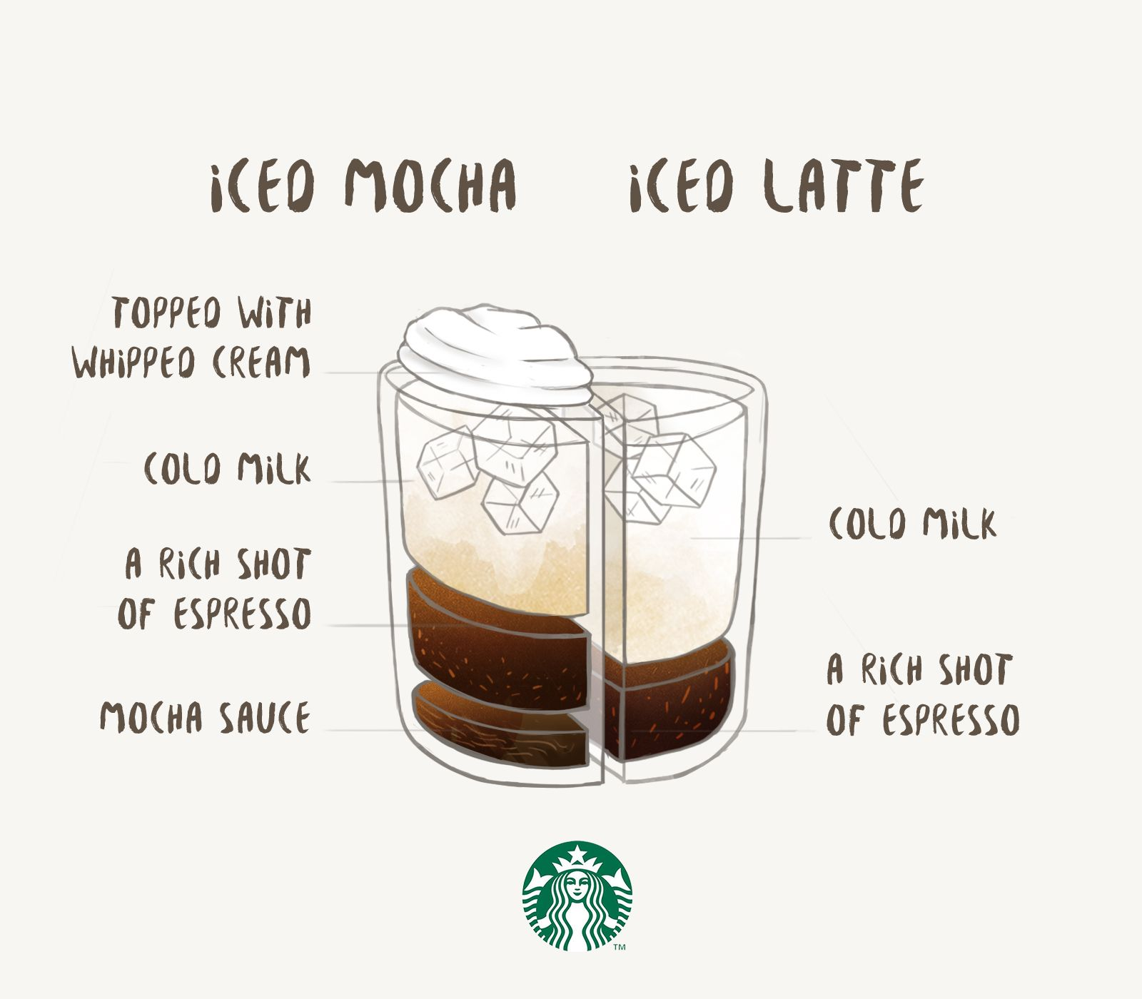 Two delicious ways to enjoy iced espresso with milk. An