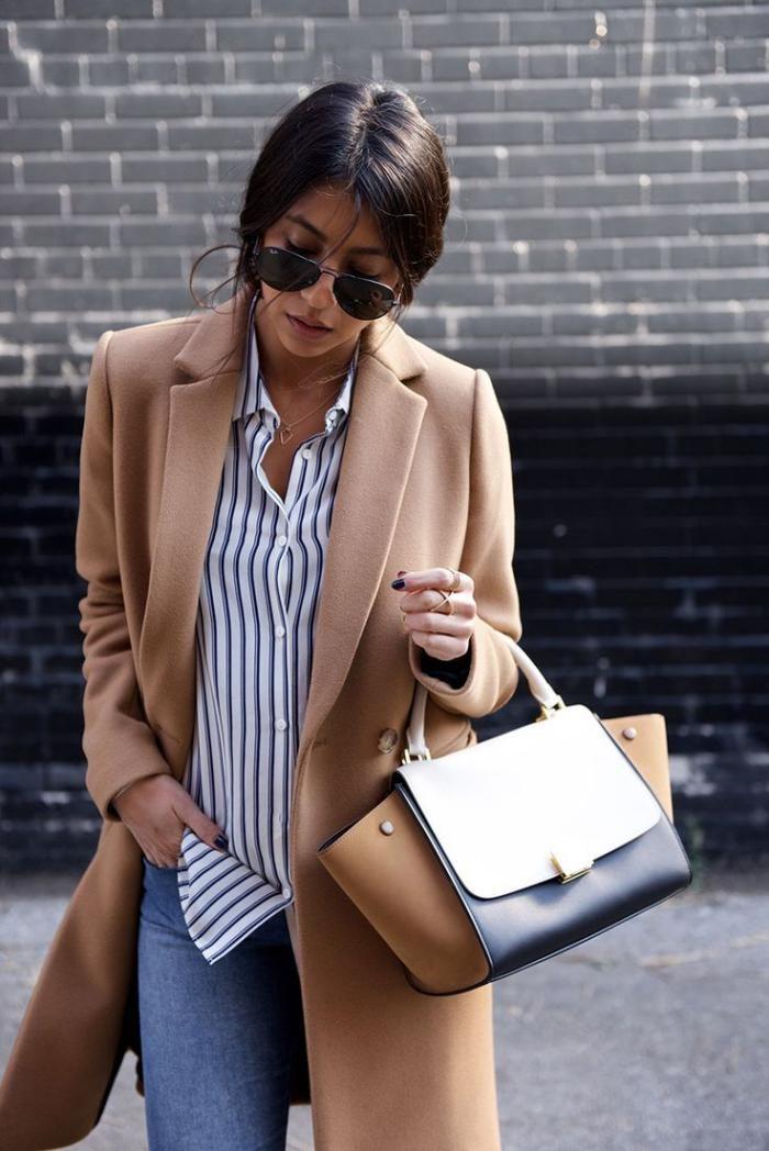 Manteau camel femme chic