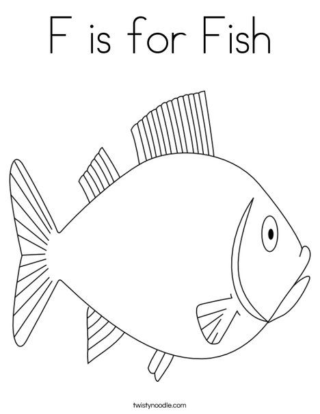 F Is For Fish Coloring Page Twisty Noodle Preschool Coloring