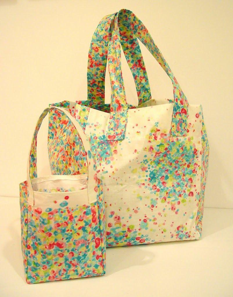 Oilcloth Mini Shopping Bag Punkin Patterns Oil cloth