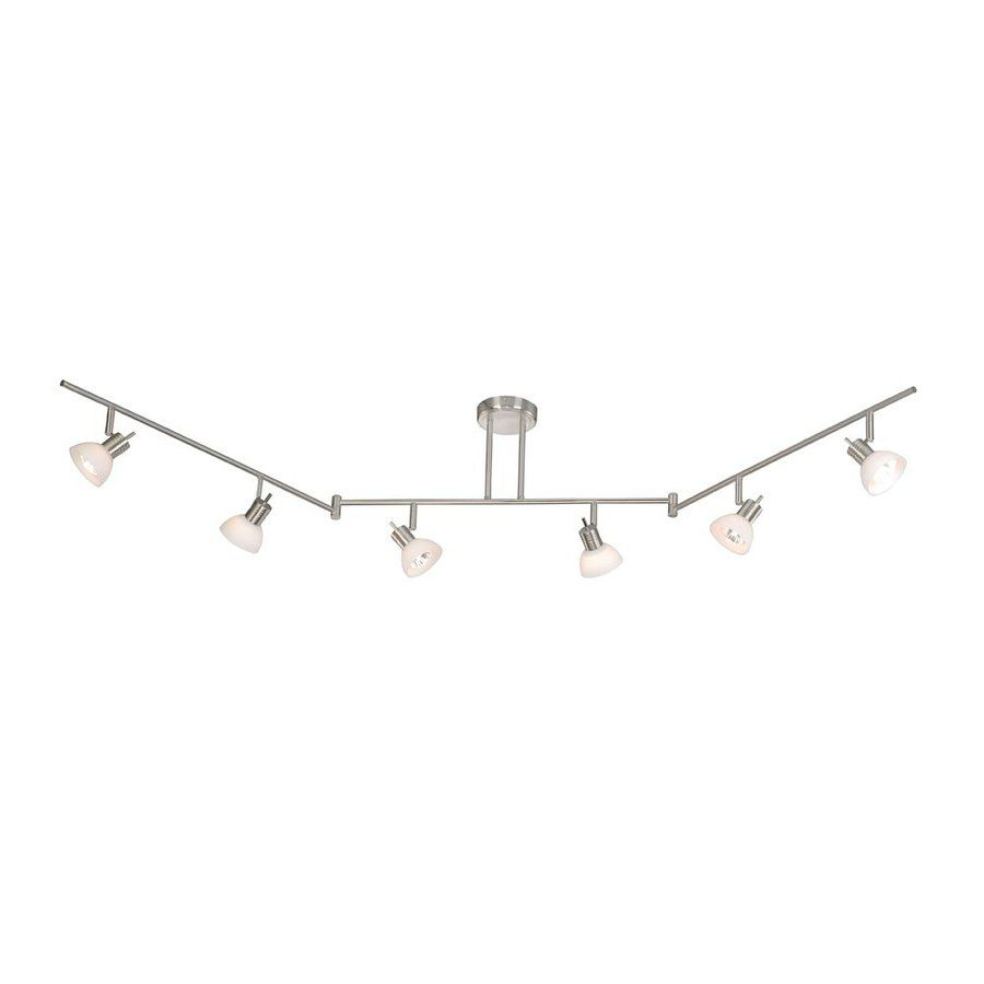 Cascadia Lighting Como 6 Light 72 In Satin Nickel Flexible Track With Frosted Opal Gl At Lowes