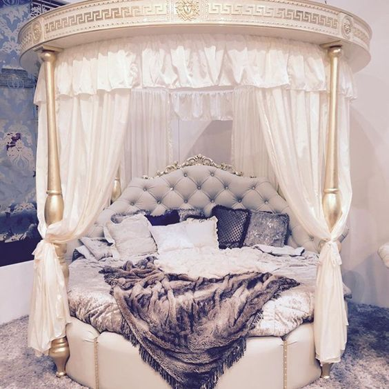 19 extravagant round bed designs for your glamorous bedroom rooms inn the house - Princess Bed