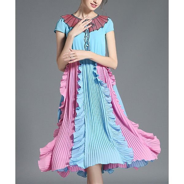 OUYALIN Pink & Blue Pleat-Skirt Ruffle Dress ($90) ❤ liked on Polyvore featuring dresses, plus size, long ruffle dress, womens plus dresses, plus size dresses, plus size ruffle dress and long blue dress