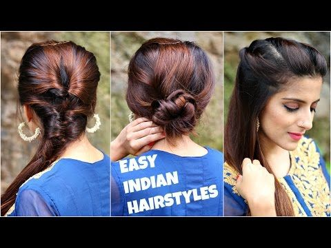 3 Anarkali Hairstyles For Medium Long Hair Easy Everyday Indian Hairstyles For Navratri Durga Puja Youtube Hair Styles Cool Hairstyles Long Hair Styles