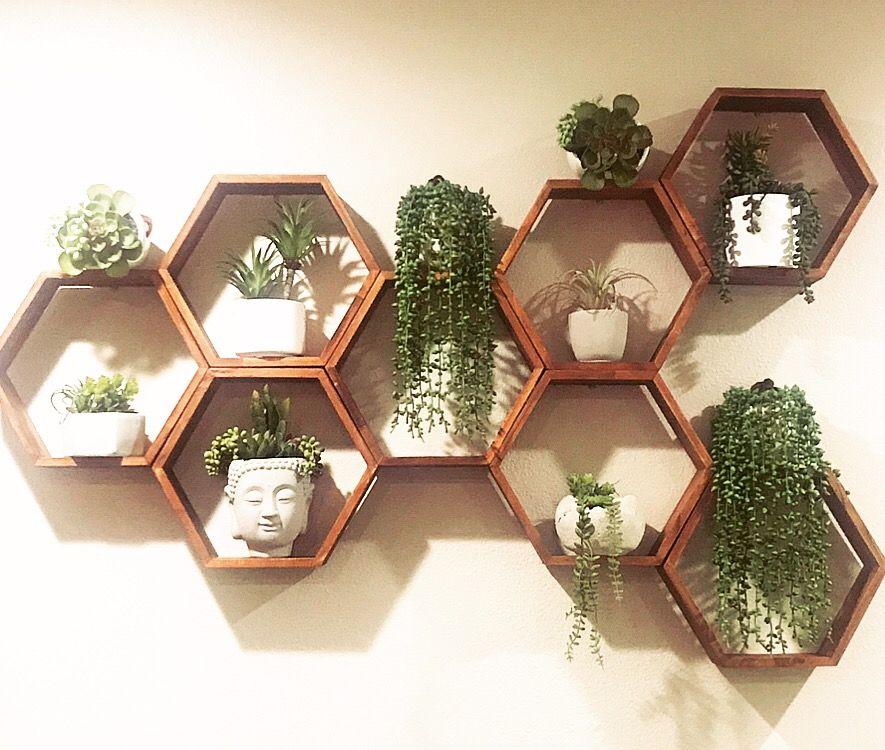 Hexagon shelves   Plant wall decor, Honeycomb shelves, Hexagon wall shelf