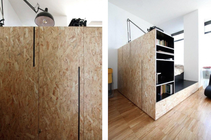 Osb Wand small apartment uses movable shelving to create endless design