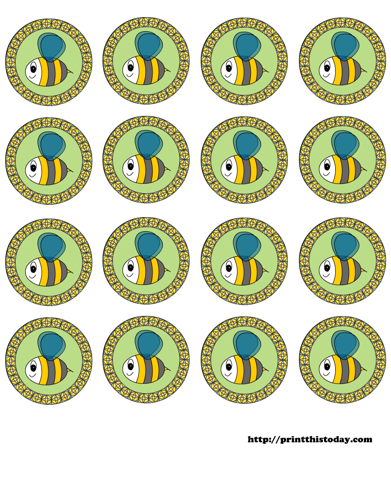free printable baby shower round labels with honey bee | free