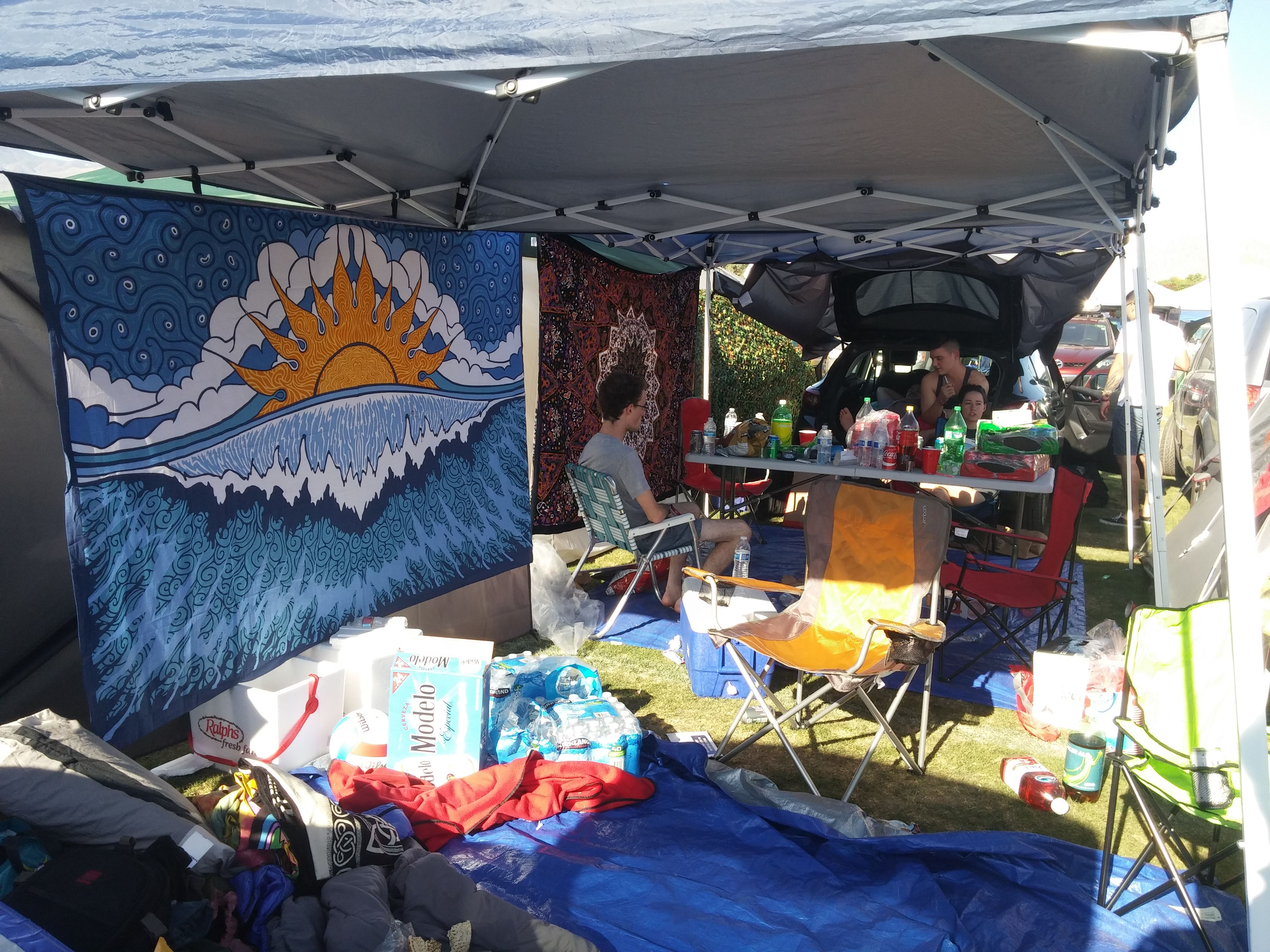 Check out our tapestries in action at a campsite at
