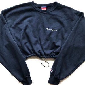 2c0e0a68ccf9 Image of Vintage Champion Reworked Crop Sweatshirt Navy
