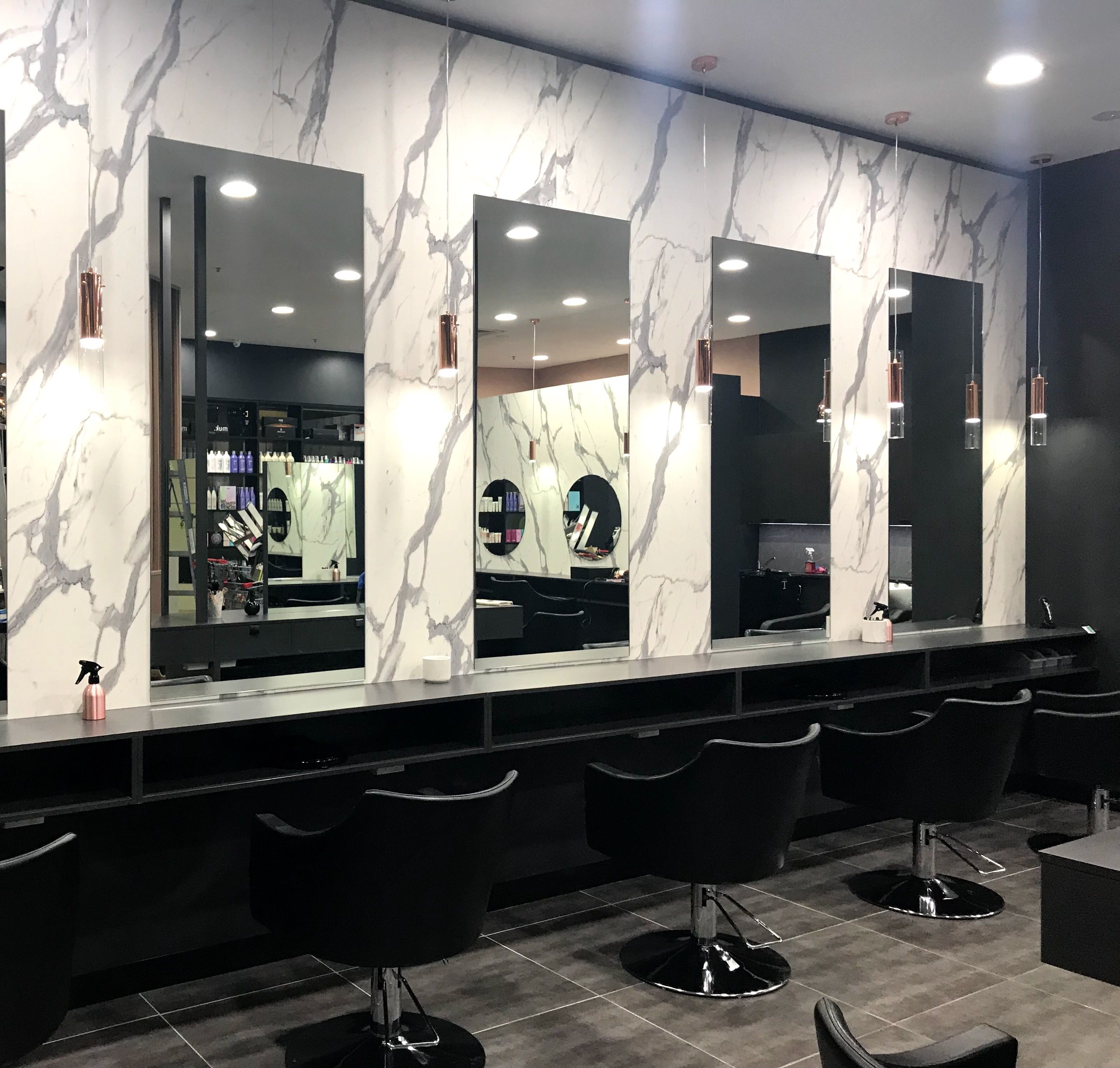 Salon Fit Out Black And Rose Gold With Marble Black Rosegold Salon Hair Salon Furniture Hair Salon Interior Black Hair Salons