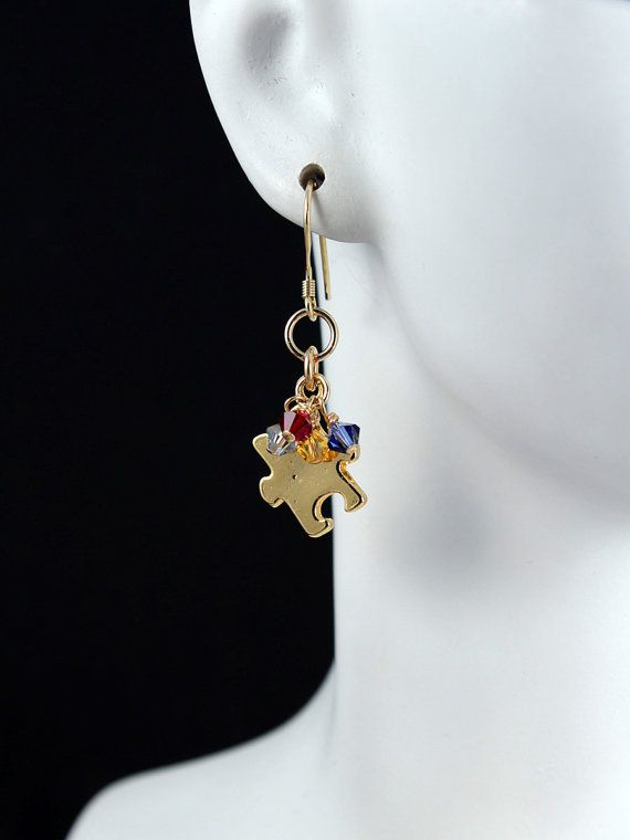 14K Gold Filled Autism Puzzle Piece Earrings by KrisTsCreations