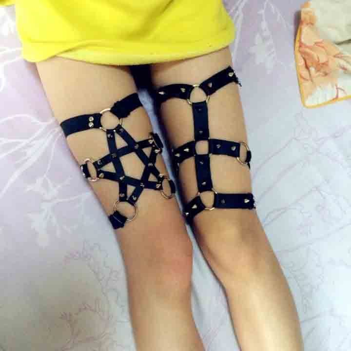 15bfa0603 Sexy Handmade Harajuku Stud Star Garter Belt pentagram Punk Leg Ring Harness  in Clothes