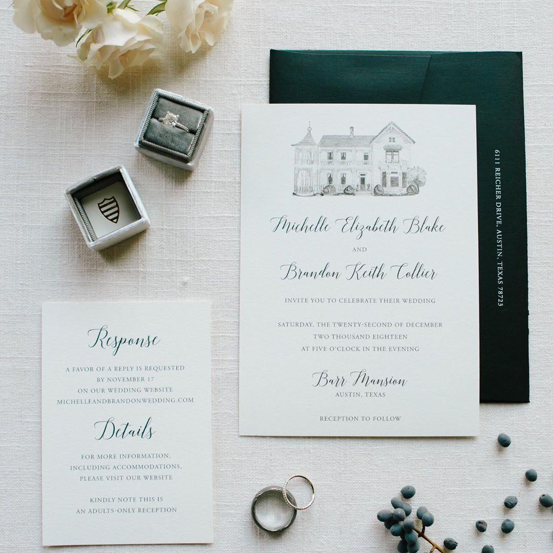 Wedding Invitation With Venue Illustration In 2020 Classic Wedding Invitations Pink Champagne Wedding Invitations