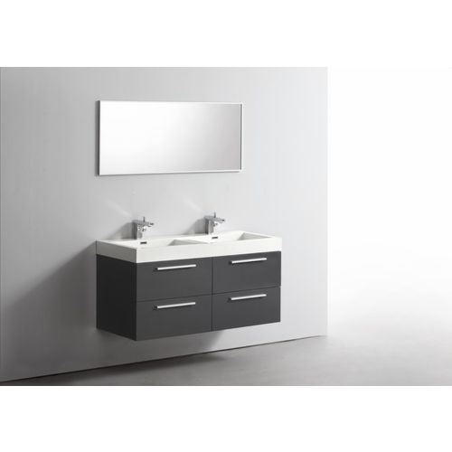Ensemble meuble salle de bains double vasque 120 cm ideo 2 - Mobilier de salle de bain pas cher ...